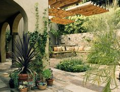 8 Elements of Mediterranean Garden Style - Excellent article for Southwest gardens about elements and outdoor living. mediterranean patio by Tommy Chambers Interiors, Inc. Deck Shade, Pergola Shade, Shade Garden, Outdoor Patio Designs, Outdoor Spaces, Outdoor Living, Outdoor Decor, Diy Pergola, Cheap Pergola