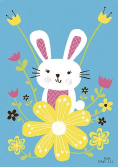 (✿´ ꒳ ` )ノ                                                     Bunny and flowers by Kelly Cottrell