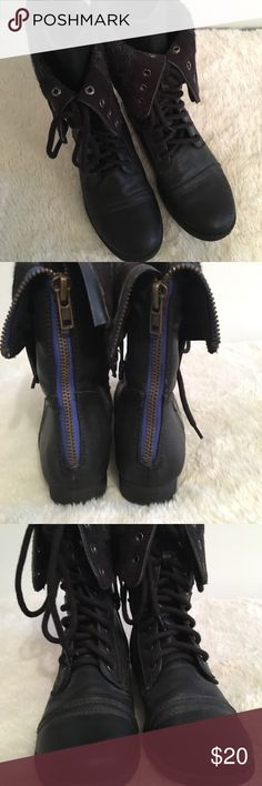 Women's Combat Boots Very stylish combat lace up boots. Wool lined with turn over flaps that button down. Also has zippers on the back of boots. EUC Aeropostale Shoes Combat & Moto Boots