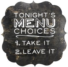 Menu Choices Plaque - click through for project instructions
