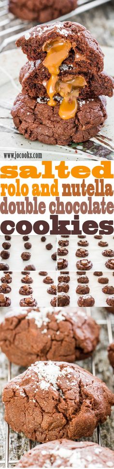 Salted Rolo and Nutella Stuffed Double Chocolate Cookies