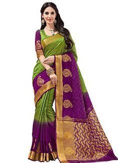 Olive Green N Purple Tussar Silk Saree