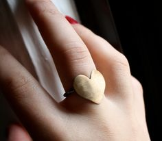 Large Brass Heart Ring with Sterling Silver Band