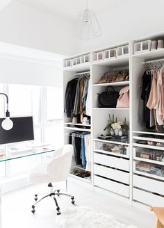 "With limited space available in her condo, savvy Canadian fashion blogger Stephanie Sterjovski incorporated her office into her closet – creating a stylish 'cloffice'. Photography Anna Argiropoulos / Interior design + styling Jacquelyn Clark / Words Jacqui Greig ""It made sense to com"