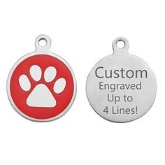 VALYRIA Personalized Engraved Stainless Steel Round Paw Pet ID Tag Dog Tag Cat TagRed *** Be sure to check out this awesome product.