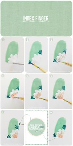 Green flower nail art tutorial.