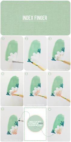 Green flower nail art tutorial.