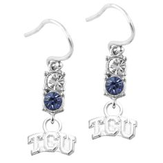 TCU Horned Frogs Dayna Designs Women's Sterling Logo Earrings With Crystals - $31.99