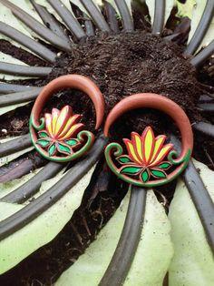 Gauge earrings, lotus flower, 0g earrings, 0g plugs, 00g earrings, hand painted jewelry, ear gauges, plug earrings, best selling items