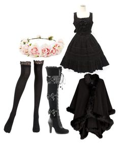 """""""Little Darkness Darling"""" by animalisticinstinctive ❤ liked on Polyvore featuring La Perla, Demonia and Forever 21"""