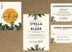Modern Botanical Greenery Wedding Invitation // Down Payment