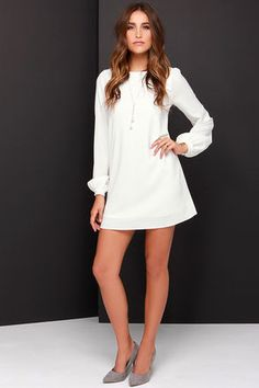 3fc9b1f288 Cute Ivory Dress - Shift Dress - Long Sleeve Dress -  38.00 White Shift  Dresses