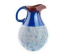 Jarrón de cerámica Anbar - azul, blanco y marrón