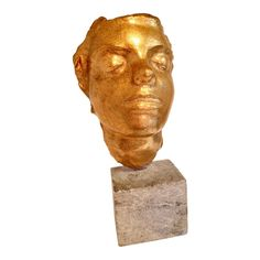 Gold Cracklure Glaze Face, Glazed terra cotta sculpture mounted on stone block base. Beautiful , dreamy female face in calm repose. size of marble block by by 3 ( sculpture tall) total height. Marble Block, Stone Blocks, Russian American, Woman Face, Unique Art, Terracotta, Sculpture Art, 1930s, Glaze