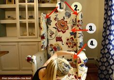 "How to reupholster a wingback chair ""no sew""  {tutorial + video} Jessica @ www.fourgenerationsoneroof.com"
