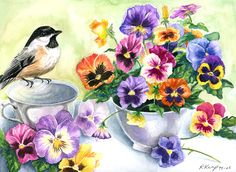 Chickadee Pansies fine art prints: canvas print or giclée paper, floral wall art, boho home decor, Spring aesthetic Art Floral, Canvas Art Prints, Fine Art Prints, Colorful Wall Art, Bird Art, Pansies, Garden Art, Flower Art, Pansy Flower