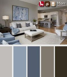 21 Living Room Color Schemes That Express Yourself. These living room color schemes will affect how the guests perceive the interior of your home. Let's enjoy these ideas and feel pleasure! Living Room Color Schemes, Living Room Grey, Living Room Designs, Living Room Furniture, Modern Furniture, Brown And Blue Living Room, Brown Furniture, Furniture Ideas, Furniture Layout