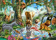 Jungle Lake with wild Animals - Wall Mural & Photo Wallpaper - Photowall Caim E Abel, Paradise On Earth, Jehovah Paradise, Royal College Of Art, Jungle Animals, Wild Animals, Forest Animals, Animal Decor, Fauna