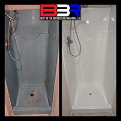 Latest work done on a small blue fiberglass shower stall, It's now a clean, crisp white. Bathtub Refinishing, Bathtub Repair, Fiberglass Shower Stalls, Shower Makeover, Best Bathtubs, Tyler Tx, Countertops, Crisp, Texas