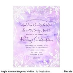 PERSONALISED Vintage Boho Floral Wedding Save The Date Cards Magnets Blue Purple