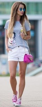 #summer #stylish #outfitideas | Graphic Tee + White Shorts + Pink Sneakers