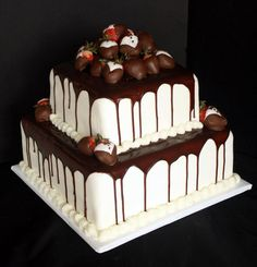 red velvet wedding cake with chocolate frosting | Red Velvet Groom's Cake with Ganache & Strawberries