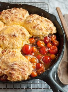 I'm declaring this cobbler the Recipe of Summer. It take those pints of cherry tomatoes that you can't help bringing home from the farmers market and transforms them into silky, oh-so-tender bites. Plus, you know, cheddar biscuits. Trust me: It's worth turning on the oven for this one.