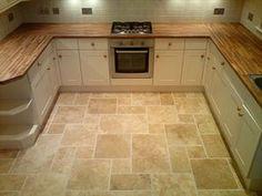 Travertine kitchen floors-love the look! Travertine kitchen floors-love the look! Stone Kitchen, Kitchen Tiles, Kitchen Flooring, Kitchen And Bath, New Kitchen, Kitchen Design, Kitchen Redo, Kitchen Cabinets, Travertine Floors