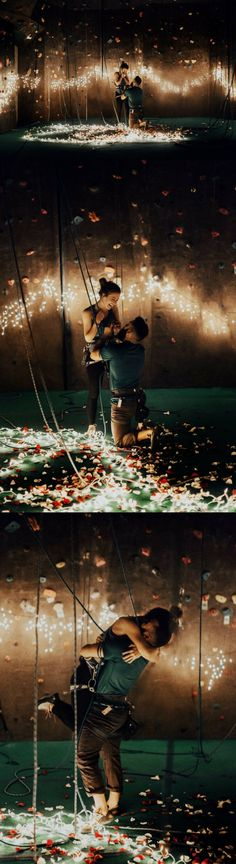 This guy turned their favorite rock climbing gym into a magical proposal spot with twinkly lights and rose petals, and it's amazing!
