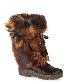 PAJAR CANADA Brown Fox Trot Real Fur Boots