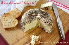 """Left over almond pulp! How to make Almond """"Cheese"""" (Fermented & Peppered) Love this recipe. I use it all the time with the almond meal left over from my almond milk! Almond Cheese Recipe, Vegan Cheese Recipes, Almond Recipes, Raw Food Recipes, Healthy Recipes, Non Dairy Cheese, Nut Cheese, Cheese Food, Almond Pulp"""