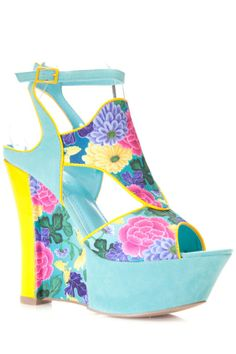 "A combination of Art deco and floral! check out the  ""Floral Contrast Abstract Wedge"" over at www.cicihot.com for more cute spring and summer wedges! #cicihot #love #floral #wedges #artdeco #florescent #teal #flowers #Neon #springfashion #summerstyles #trends"