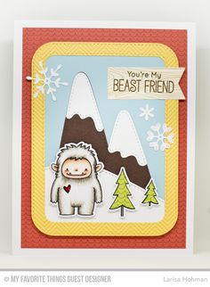 Handmade card from Larisa Hohman featuring Birdie Brown Beast Friends stamp set and Die-namics, Snow-Capped Mountains, Downhill Slope, Stylish Snowflakes, Stitched Rounded Rectangle Frames, and Blueprints 18 Die-namics #mftstamps