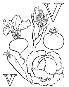 Fruits and Vegetables Coloring Page Bulletin board and Clip art