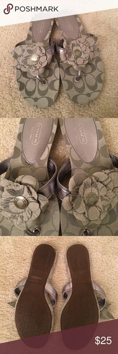 Coach sandals flip flops size 7 lightly used Coach slip on sandals flip flops size 7 lightly used silver/gray Coach Shoes