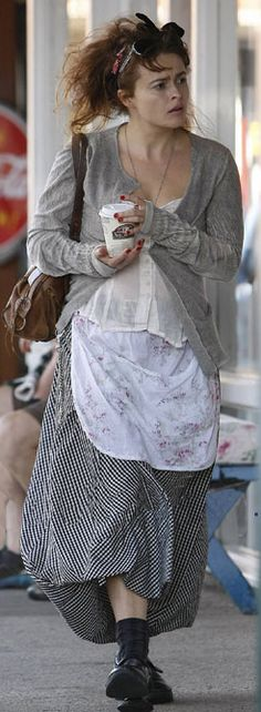 Helena Bonham Carter. i want to get to the stage in my life where i can dress like her and no one will fuss at me.