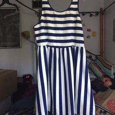 White & Navy Blue Striped Dress This is a white and navy blue striped dress from Forever 21. Size 3X. Only worn a few times. Forever 21 Dresses