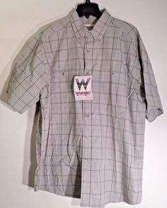 WRANGLE RUGGED WEAR MEN'S SHIRT SZ XL PLAID COTTON BLEND SHORT SLEEVES NEW  #WRANGLE #ButtonFront