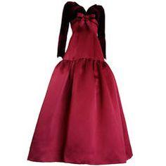 1980's OSCAR DE LA RENTA Silk satin & velvet ball gown dress