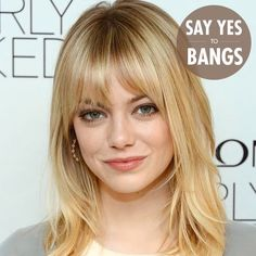 Emma Stone Medium Layered Hair with Bangs - Let me guess, I can only pull this off with fine hair Medium Length Hair With Bangs, Layered Hair With Bangs, Medium Layered Hair, Medium Hair Styles, Short Hair Styles, Thick Hair, Long Bangs, Medium Cut, Straight Bangs