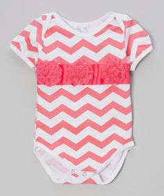 Look what I found on #zulily! Pink & White Rosette Bodysuit - Infant #zulilyfinds