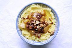 Kartoffelbrei mit karamellisierter Birne