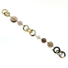 Bracelet made of sterling silver 925 and natural horn with quartz stones and natural pearl Quartz Stone, Bracelet Making, Horns, Stones, Beaded Bracelets, Pearls, Sterling Silver, Natural, Gold