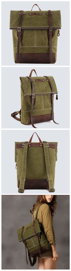 HANDMADE CANVAS LEATHER BACKPACK CASUAL BACKPACK RUCKSACK SCHOOL BACKPACK IN GREEN