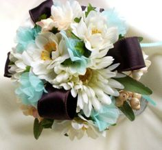Chocolate and Turquoise Wedding Bouquet | Beach Bridal Bouquet Brown Aqua Wedding Flowers Custom Deposit for ...