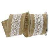 "2 1/2"" Burlap Ribbon with White Lace Center"