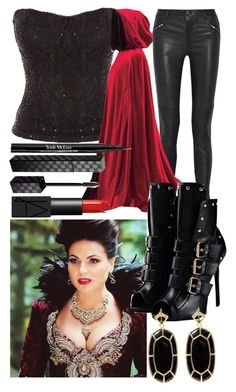 """""""Evil Queen (OUAT) Outfit"""" by brat4life11 ❤ liked on Polyvore featuring Jane Norman, BLK DNM, Giuseppe Zanotti, Trish McEvoy, Gucci, NARS Cosmetics and Kendra Scott"""