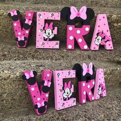 Minnie Name Letters Minnie Letter Name Minnie Paper Mache image 0 Paper Mache Letters, 3d Letters, Wooden Letters, Minnie Mouse Theme, Minnie Mouse Room Decor, Decorate Lampshade, Mouse Parties, Birthday Photos, Sales And Marketing