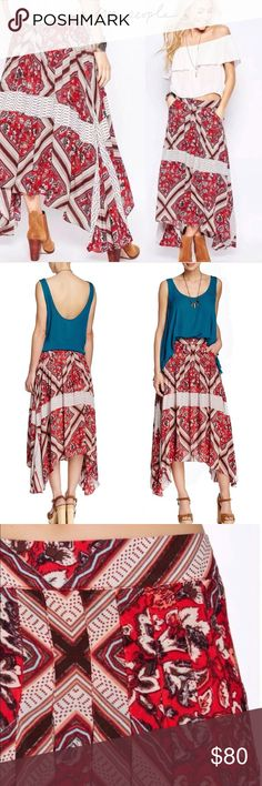 FREE PEOPLE Pimento Combo Printed Maxi Skirt 6 Beautifully printed skirt from Free People lends a boho chic vibe we just can't get enough of. Approximate flat measurements: Waist: 14.5 in Length: 28 in   All over print Pleated detailing Hidden zip back Side pockets Asymmetric hem 100% rayon Machine wash cold Free People Skirts Maxi
