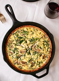 Arugula and Cremini Quiche with Gluten-Free Almond Meal Crust - cookieandkate.com
